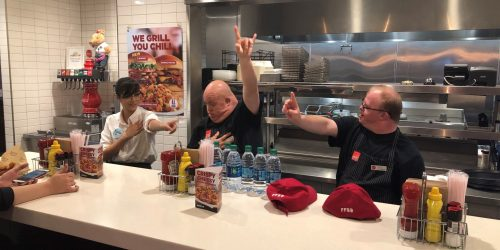 Scott and Patrick Johnny Rockets Learning Dance